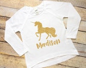 Personalized (any name) gold glitter unicorn short or long sleeve girls tee