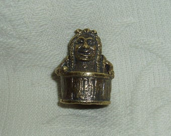 Russian Сollectible Decorative Brass Thimble Baba Yaga