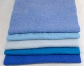 """FELTED CASHMERE PIECES """"The Blues""""  Reclaimed Sweater Scraps 100% Woolen Fabric 1822"""
