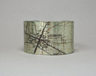 Leesburg Virginia Cuff Bracelet Unique Custom Hometown City Map Gift for Men or Women