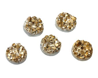 15 Druzy Charms Gold Sparkle Resin Cabochon 10mm Z230