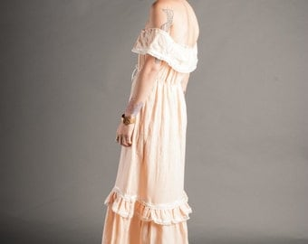 Pale Peach Off The Shoulder Prarie Dress