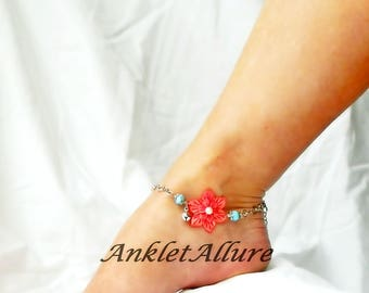 Beach Anklet Bell Anklet Flower Ankle Bracelet Coral Ankle Bracelet Cruise Anklet Beach Jewelry