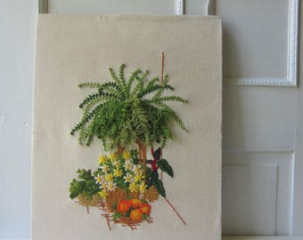 Vintage Fern Crewel Embroidery Wall Art - Dimensional Hanging Plant - Textile Art - Boho Decor - 1975 - 16 x 20 Unframed