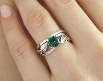 Set Wedding Rings, Bridal Set Leaf Twig Ring, Twig Emerald Engagement Ring, Leaves Emerald Antique Engagement Ring, Vintage Bark Ring