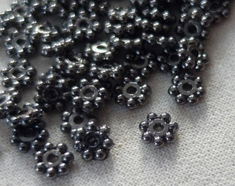 100 Classic Gunmetal Plated Heishe Daisy Antiqued Spacer Beads, 5mm,  pkg 100 pieces