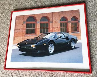 Vintage 1980s Ferrari 308 GTSI Sports Car Art Poster Print Framed Red Car Black Frame