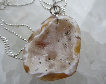 Beautiful Natural White Druzy Pendant on Sterling Silver Chain -- One-of-a-kind