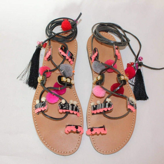 Women's fashion, Pompom Sandals/Boho sandals, festival fashion, black gladiators size 40