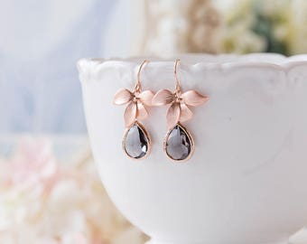 Mothers day gift, Gray Glass Teardrop Rose Gold Orchid Flower Dangle Earrings, Rose Gold Jewelry, Bridesmaid Gift, Gift for Mom