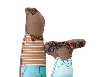 SMALL Children - Little Brother and sister in brown Mint ,Suitable for family portrait- Soft sculpture dolls -eco handmade Stocking stuffer