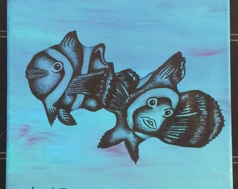 """Clown Fish  12"""" x 12"""" Acrylic and Black Colored Pencil"""