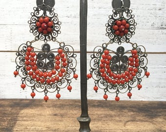 FRIDA KAHLO Vintage Style Earrings | Large Coral Beaded Sterling Silver Mexican Earrings | 925 Taxco Mexico Jewelry | Folk Boho Southwestern