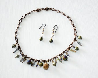 Jewelry Set - multi color beads - Necklace and Earrings -Pearls, crystals and Druzy Sparkles