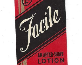 Vintage Buerger's Facile After-Shave Lotion Cosmetic Label, C1920s
