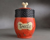 Dog Treat Jar Ready To Ship Treats Red Spiky Collared Treat Jar by Symmetrical Pottery