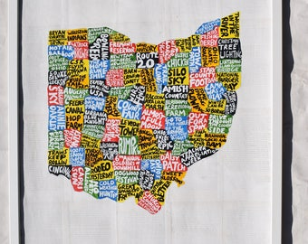 Ohio Map art - Ohio wall art - Ohio map art - Ohio decor - Ohio gifts - Ohio home - Ohio map - Ohio state - Ohio wall decor - Ohio painting