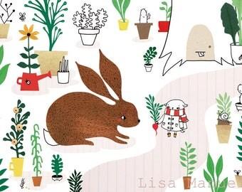 Print Garden - illustration A4   wall art, cute print, papercut, paper illustration, A4 poster, bunny print, kids room wall art, kids decor