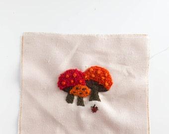 Vintage Embroidery Needlepoint Piece Mushroom and Ladybug Retro 1970s Handmade