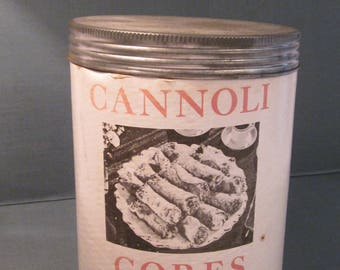 1950s Tin of Cannoli Cores - 12 Metal Tubes for Italian Dessert Shells - Original L Fanara Package Kansas City Company - Patent Applied For