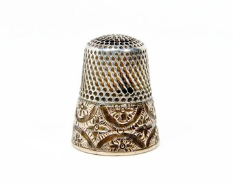 Antique Sterling Silver and Rose Gold Thimble, Size 9, G&B, Repousse Gold, Vintage Sewing, Vintage Sewing Supplies