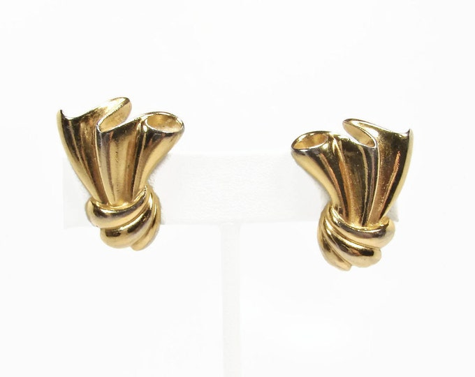 GIVENCHY Paris New York Vintage Earrings, Clip On Earrings, Gold Tone, 1980s Jewelry, Vintage Jewelry