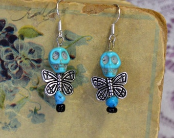 Faux Turquoise Skull Bead Dead Fairy Dangle Earrings Morbid Romance Shabby Style Jewelry