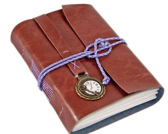 Light Brown Faux Leather Journal with blank paper and clock charm,  Ready to Ship