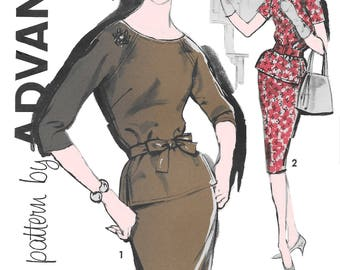 Advance 9625 Womens 60s Two Piece Dress Sewing Pattern Size 14 Bust 34