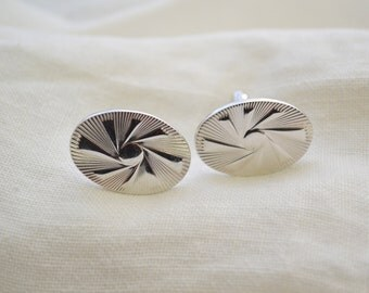 1960s Silver Oval Cuff Links