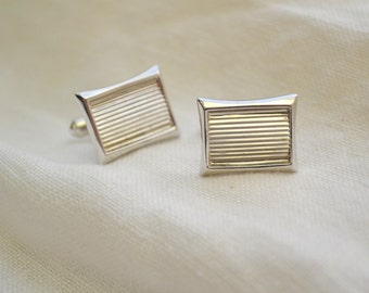 1960s Hickok Silver Rectangle Cuff Links