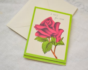 1950s NOS Rose Gift Card with Envelope