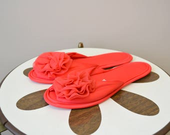 1960s Reddy's Coral Red Chiffon Slippers, Size M