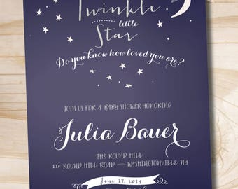 Twinkle Twinkle Little Star Do You Know How Loved You Are Baby Shower Invitation - Printable Digital file or Printed Invitations