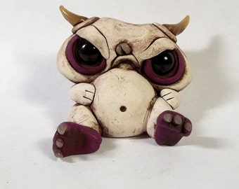 Grumpy Gus the Chubby little monster polymer clay ,sculpture,figurine,small cake topper, desk buddy