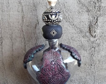 Gothic Potion Bottle in Red and Teal,Polymer clay embellished bottle, Covington Creations,OOAK