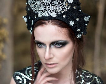 Black & Silver Lace 'Mysteria' Beaded Gothic Couture Headdress