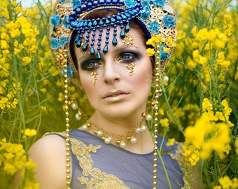 Blue and Gold 'Piscean Queen' Crystal Couture Headdress