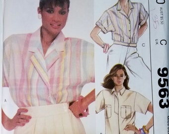 Vintage McCall's 9563 Women's Blouse Sewing Pattern Size 18 from 1985, Button Down