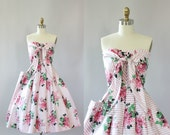 Vintage 50s Dress/ 1950s Cotton Dress/ Pink & White Striped Cotton Floral Print Dress w/ Tie Bodice S