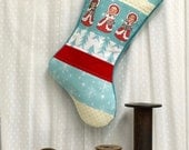 Christmas Stocking Quilted - Christmas Angels -  Personalized, Patchwork, Retro Holiday Decor,  Aqua Blue, Red, White, kids, children,