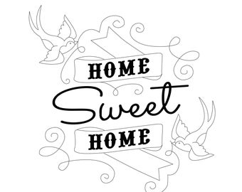 Home Sweet Home Retro Tattoo Cute Classic Pattern Template DIY pdf file for Hand Embroidery Art