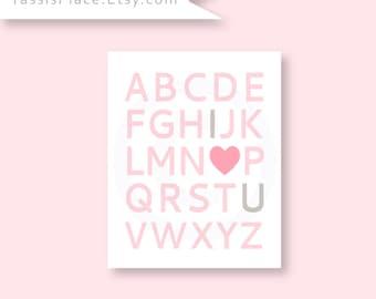 ABC I Love You Alphabet Heart Print Baby Girl Nursery Art Little Girls Room Sign, Baby Shower Decoration, Pink Gray