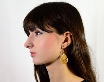 20% off. Grey Pearl Earrings - Tear drop dangle earrings. Flower Cut Out Earrings. Gold Earrings. Silver Earrings