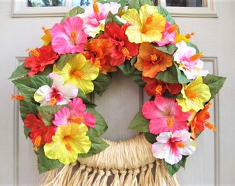 Hawaiian Luau Wreath, Luau Party Decorations, Pink Yellow Red Hibiscus Wreath, Flower Wreath, Beach Wedding Decor, Pool Party Decor