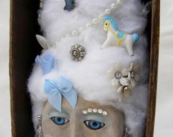 Oh Marie! - Marie Antoinette Art Doll Shadowbox - OOAK Folk Art Assemblage