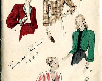 Vogue 5660 1940s Bolero Jacket WWII Sewing Pattern B30