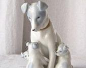 Vintage Mommy Dog and Pups Figurine Gotha Pfeffer Germany Fine Porcelain 1930s