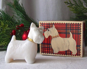 Vintage Scottie Dog Milk Glass Avon Collectable Queen of Scots Sweet Honesty Cologne 1970s Original Box