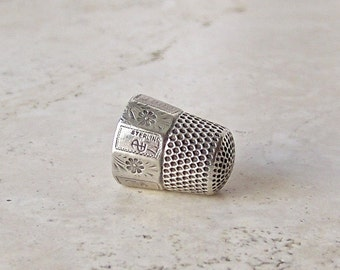 Antique Sterling Silver Thimble Size 7 Stern Brothers Thimble Monogrammed A K 1900 Thimble Collector Gift For Mother Ca 1900